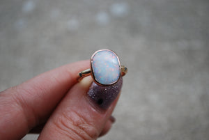 14k Gold Opal + Diamond Ring