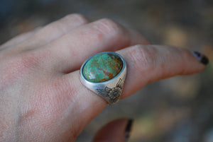 Engraved Floral Turquoise Signet