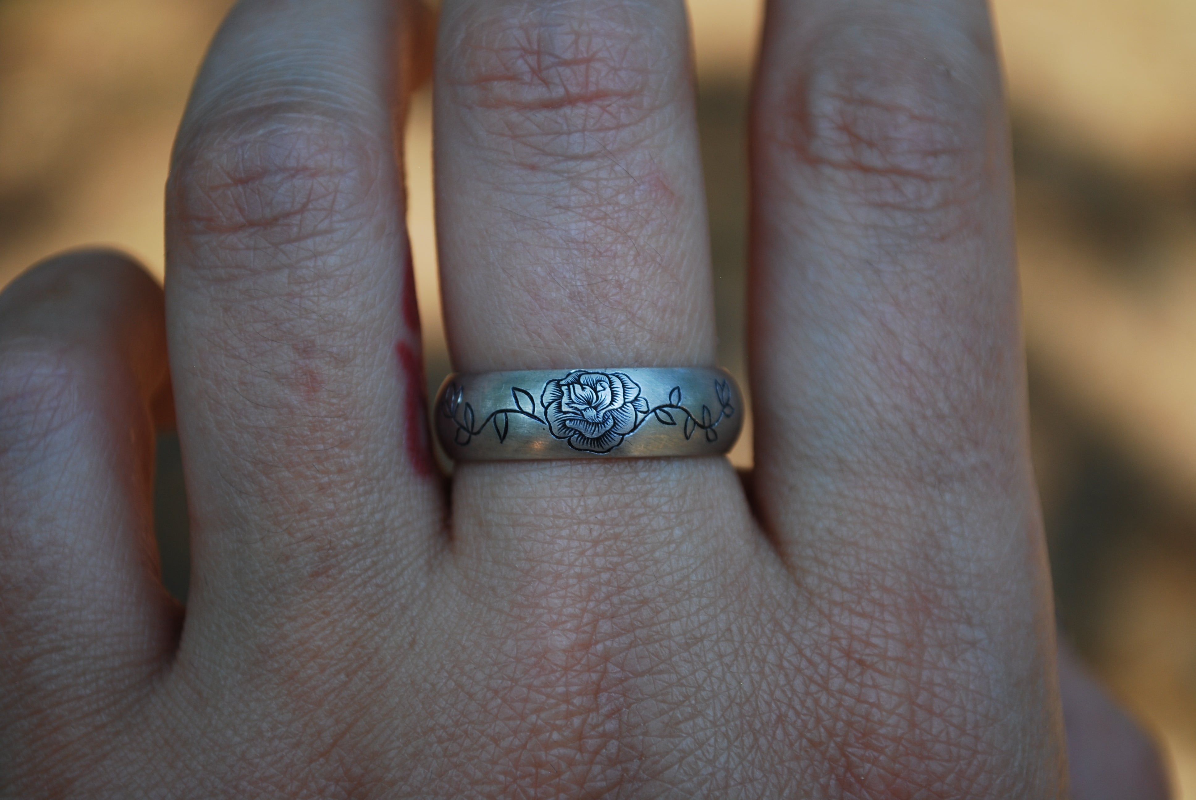 Engraved Rose Wide Band