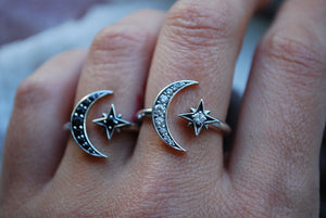 Moon + Star Ring