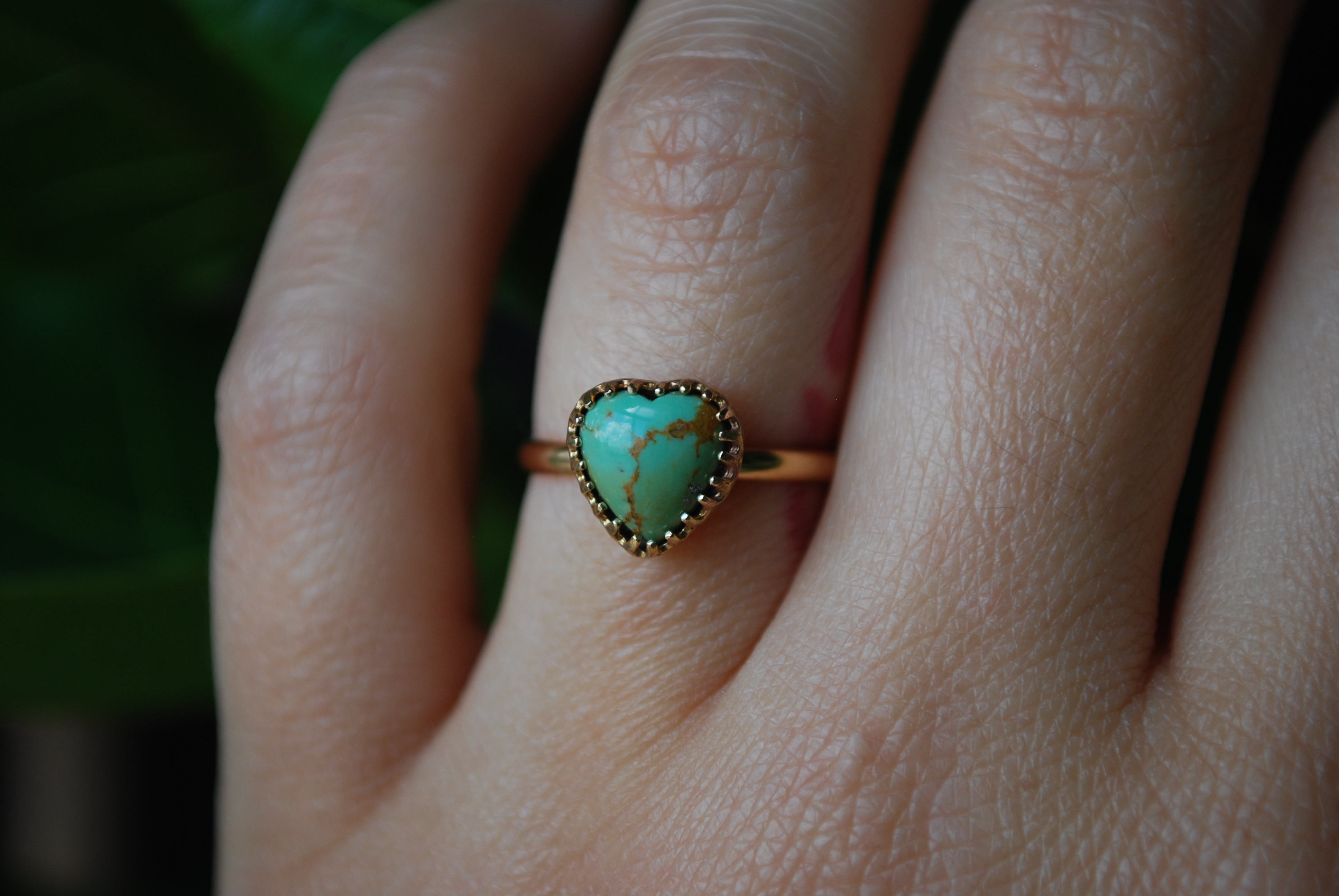 Golden Turquoise Heart Rings