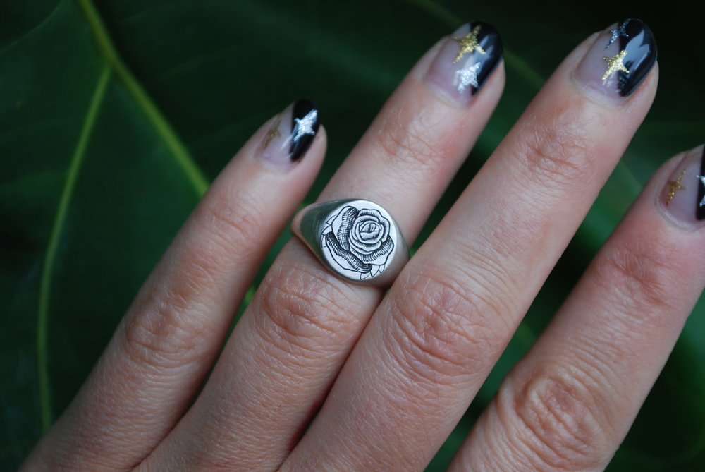 Hand-Engraved Rose Signet Ring