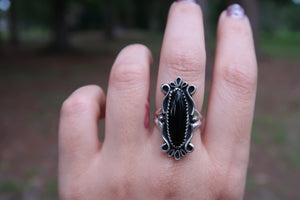 Black Onyx Scroll Ring