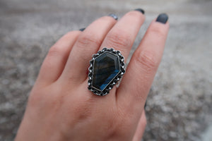 Labradorite Coffin Rings