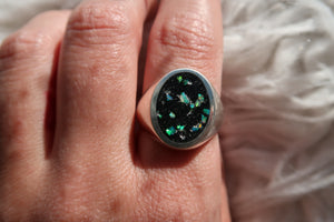 Opal Inlay Signet Ring