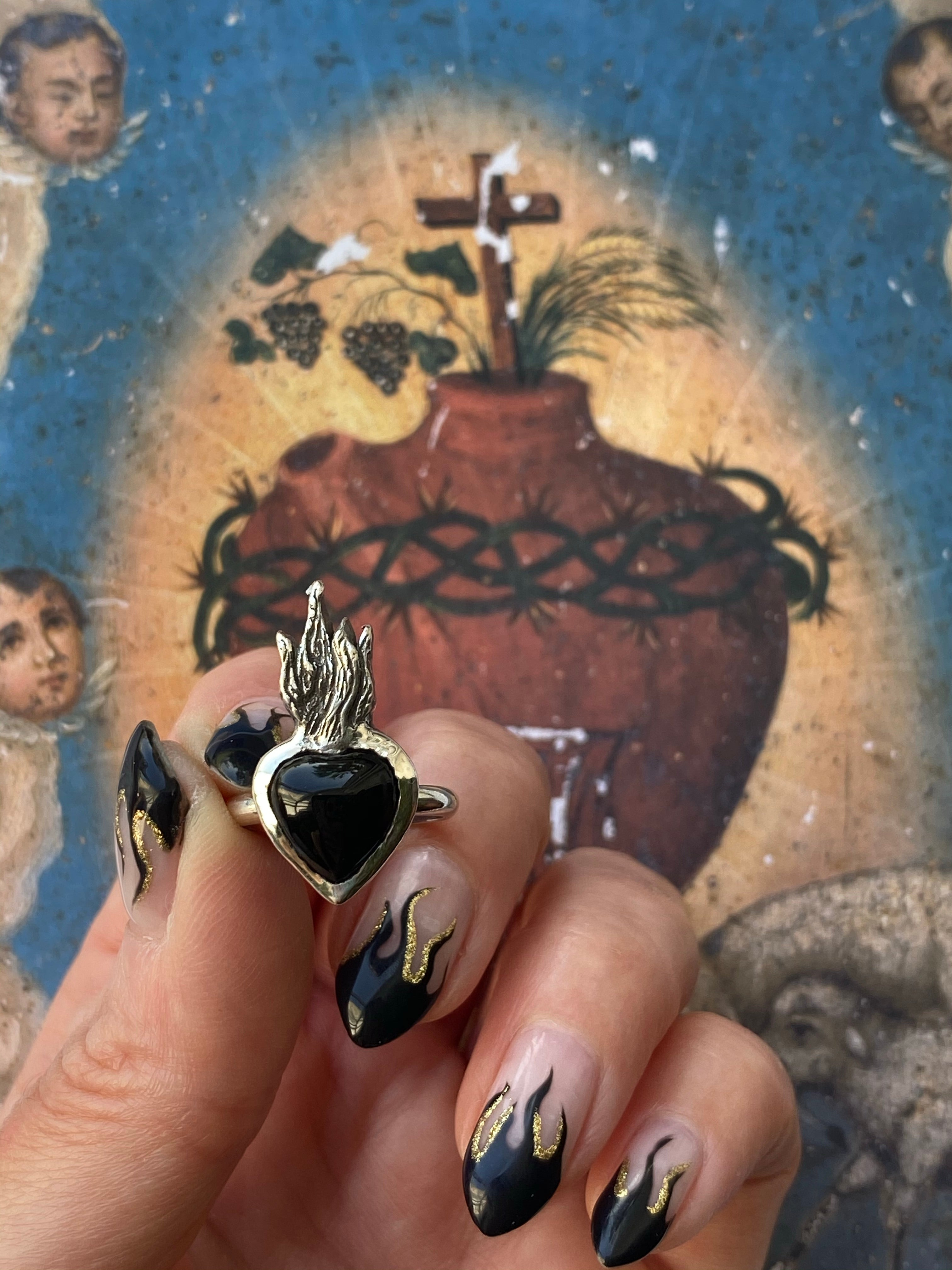 Black Onyx Sacred Heart Ring