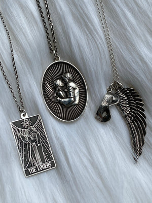 Mask + Wing Charm Necklace