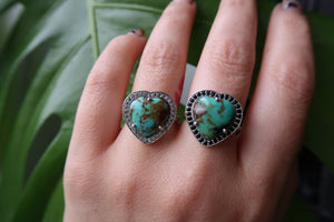 Turquoise Heart Halo Rings