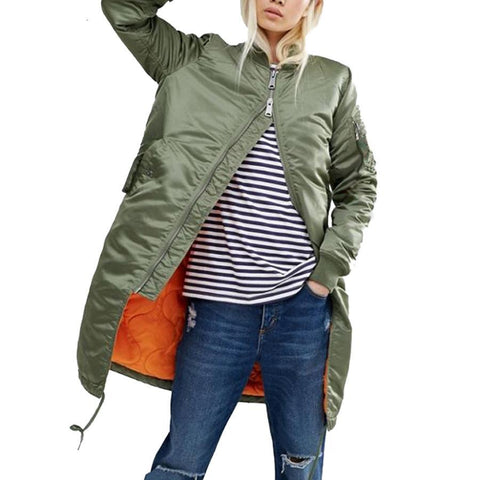 Women's Military Winter Long Bomber Jackets And Coats