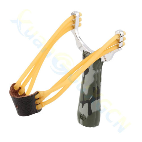 1pcs Powerful Steel Alloy Slingshot Sling Shot Catapult Camouflage Bow Catapult Outdoor Hunting Camping Bow Travel Kits