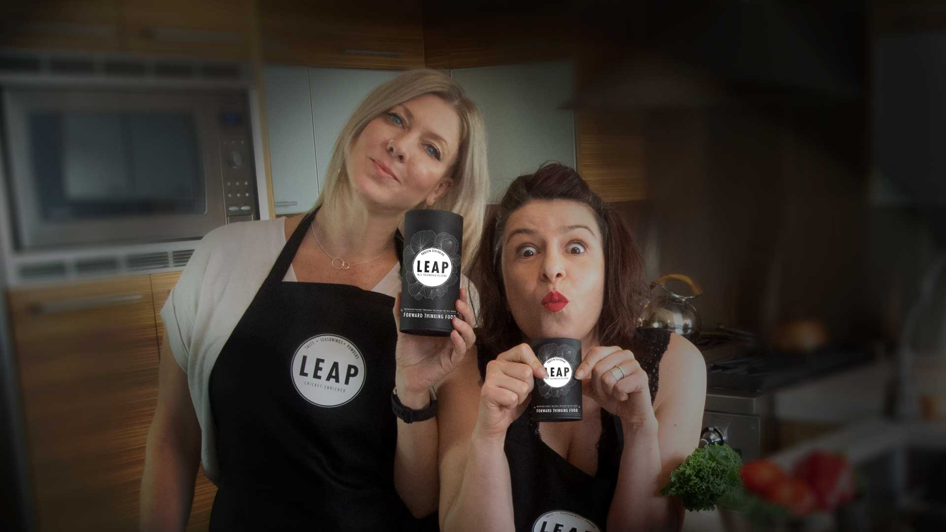 The founders of LEAP Cricket Powder Proteins: Carmen Ostrander &Shannon Farley