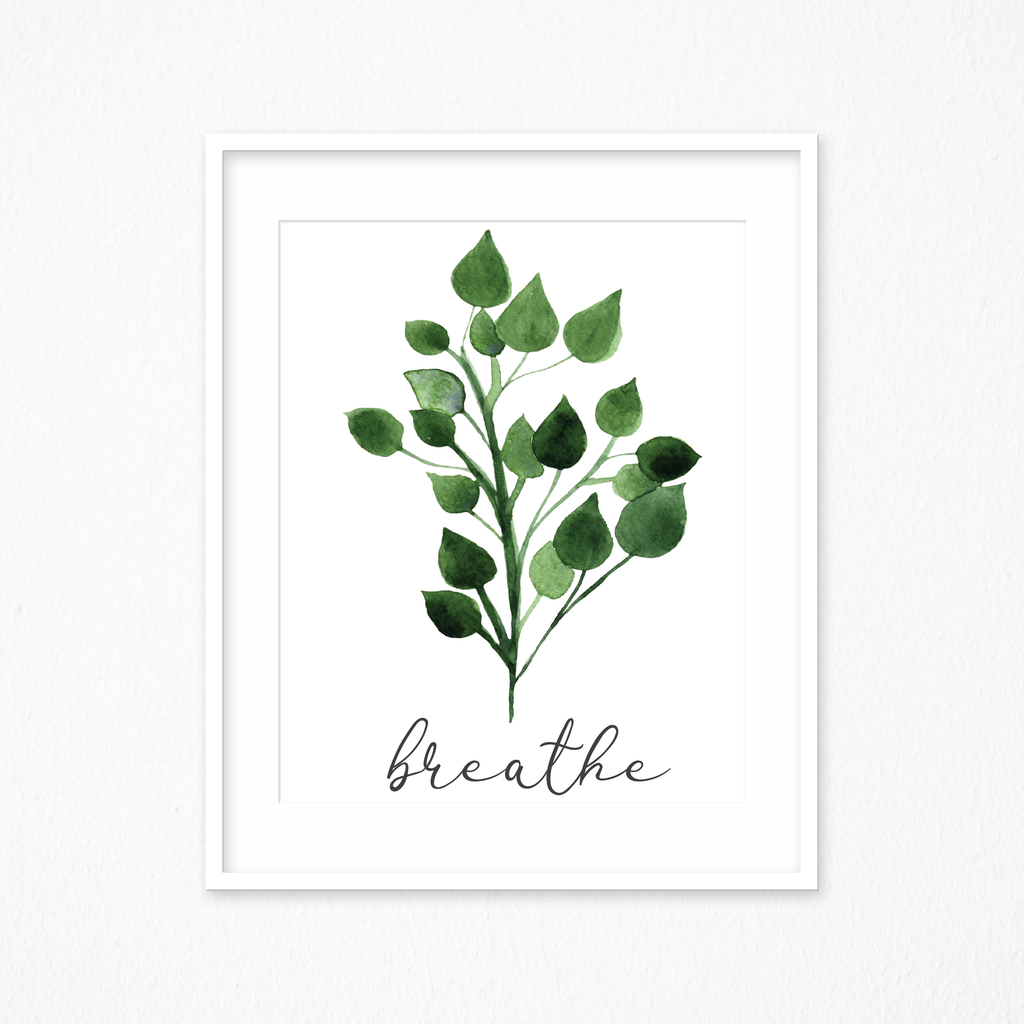 Wall Art, Watercolor Printable's, Breathe Sign Watercolors Print