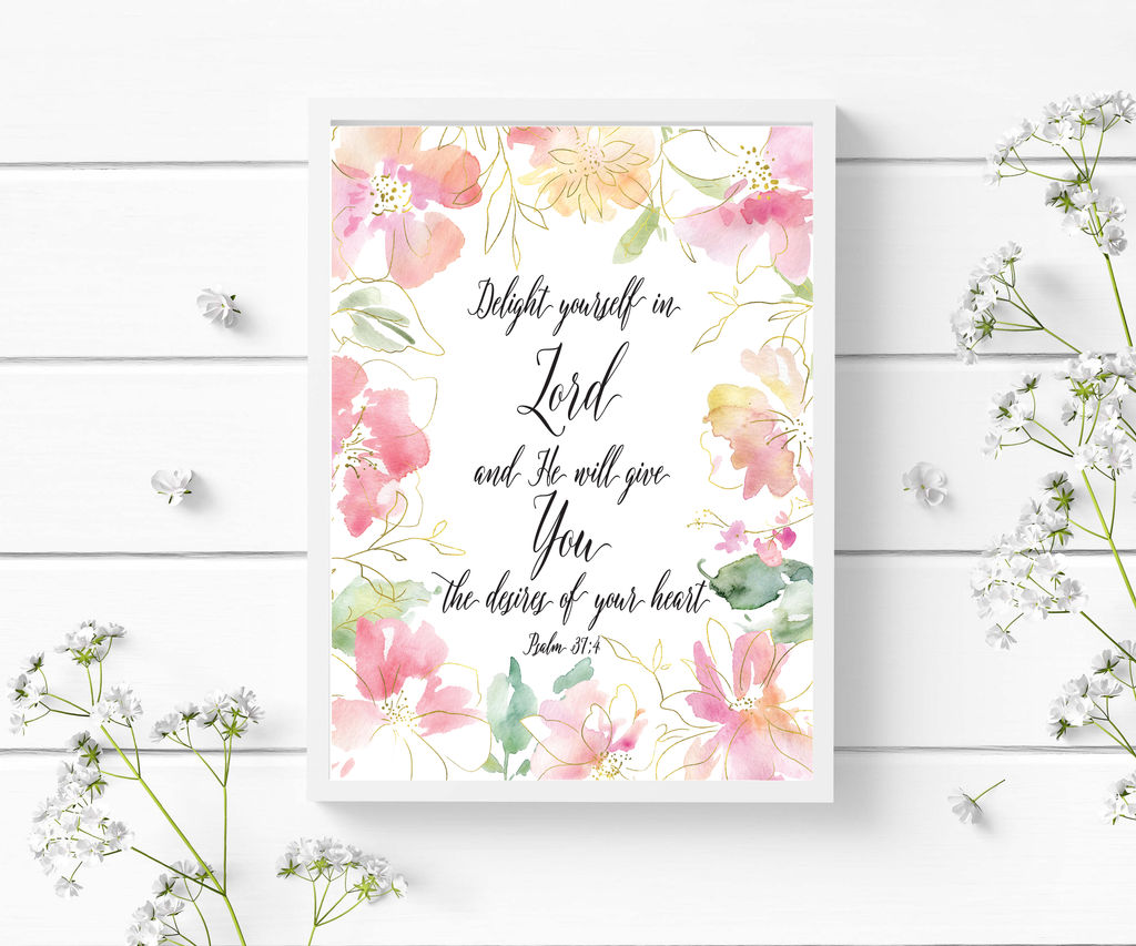 Delight Yourself in the Lord Scripture Wall Art - Bible Verse Prints