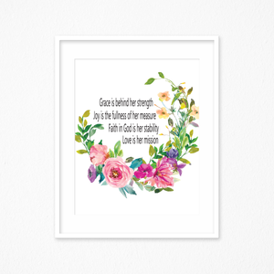 Bible Verse Print, Scripture Printable, Scripture Wall Decor, Grace is Her Strength Sign