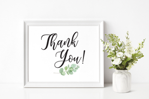 Thank You Wedding Sign Printable
