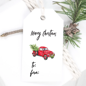 Red Truck Christmas Gift Tag