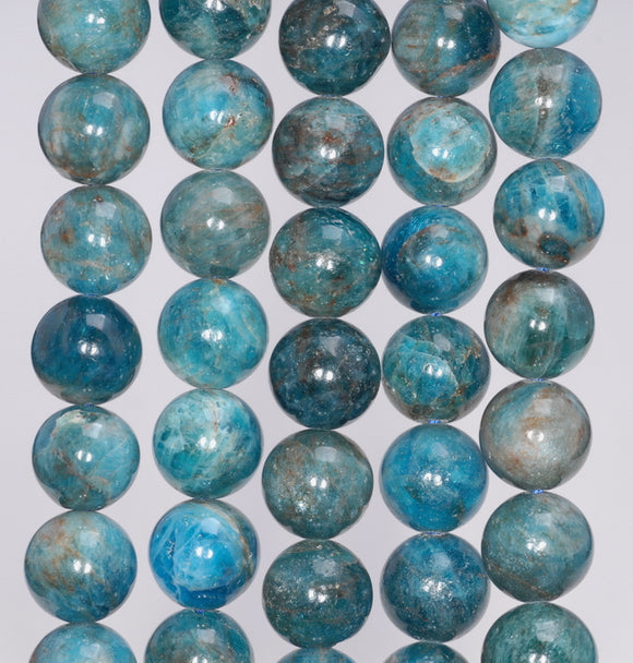 6-7MM APATITE GEMSTONE GRADE A OCEAN BLUE ROUND 6-7MM LOOSE BEADS 7.5/""