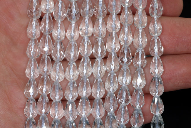 90187594-702 A 10X10mm White Rock Crystal Quartz Gemstone Grade AAA Faceted Butterfly Beads 15.5 inch Full Strand BULK LOT 1,2,6,12 and 50