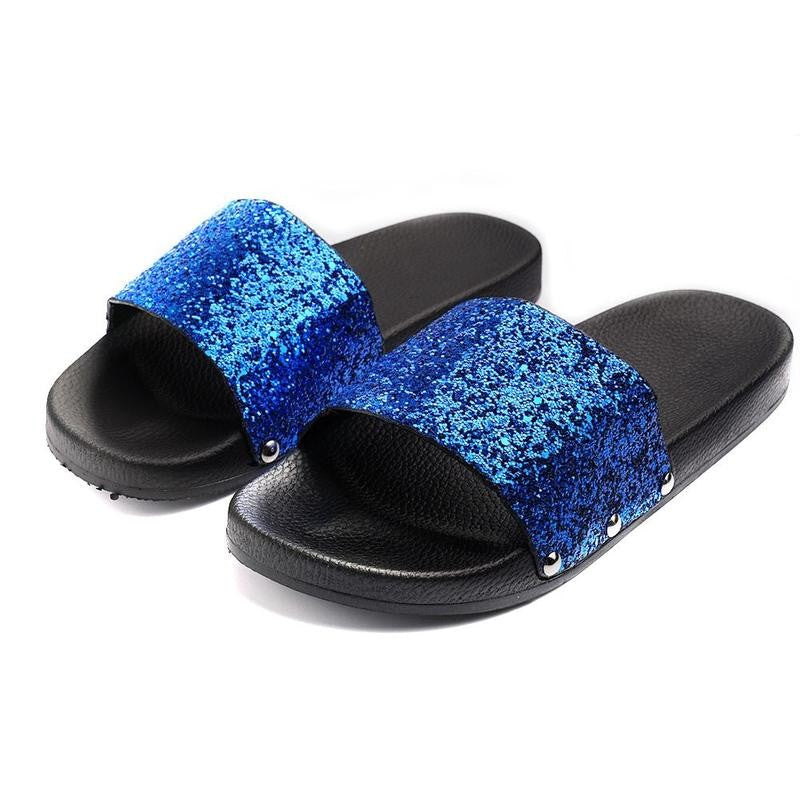 e89affac58de Womens Slip On Sliders Ladies Flat Sparkly Diamante Bling Summer Sandals  Shoes ...