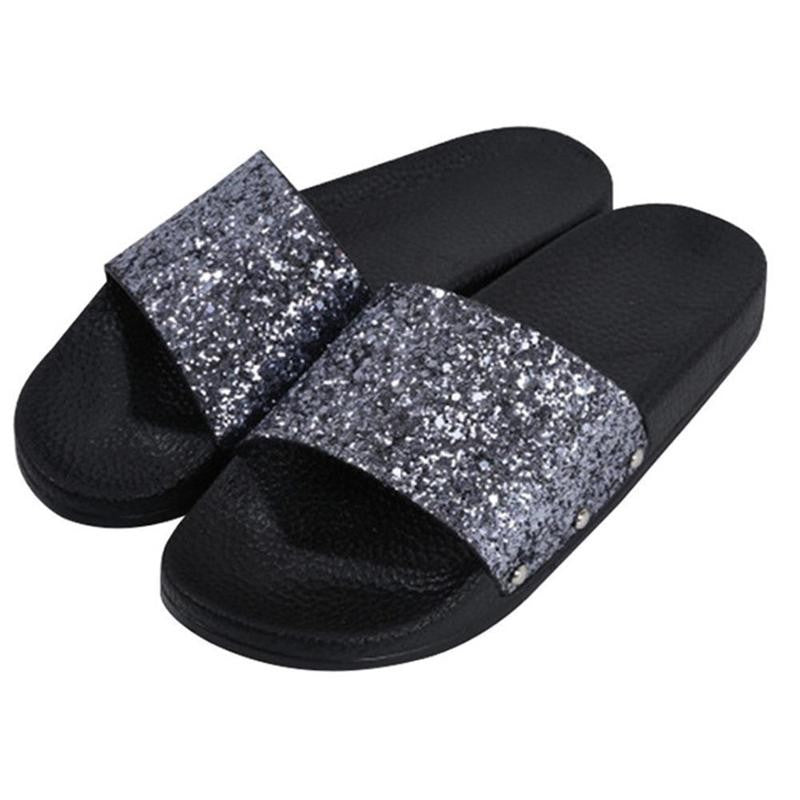39bcbecd5 ... Womens Slip On Sliders Ladies Flat Sparkly Diamante Bling Summer Sandals  Shoes