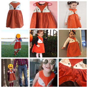Sweet Girls Cartoon Fox Dress for Halloween and Casual