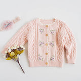 Girls Crochet Sweater Cardigan Jackets Pink Beige and Blue Color with Floral Embroidered