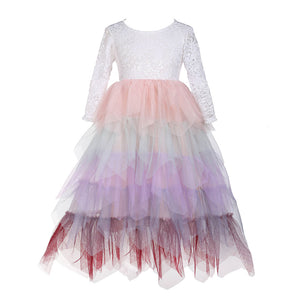 Flower Girls Candy Tulle Tutu Party Dress Peony Lace Maxi Dress - everprincess
