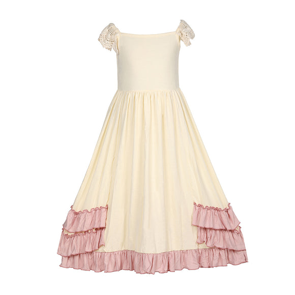 Girls Ruffles Maxi Dress Lace Fly Sleeve Cream Pleated Dress - everprincess
