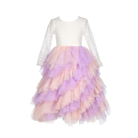 Princess Girls Twirly Tutu Tulle Lace Party Dress Kids Girls Dream Dress - everprincess