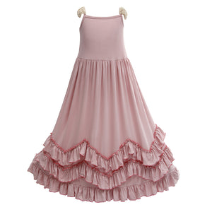 Girls 3 Layers Ruffles Pink Maxi Dress with Lace Fly Sleeve - everprincess