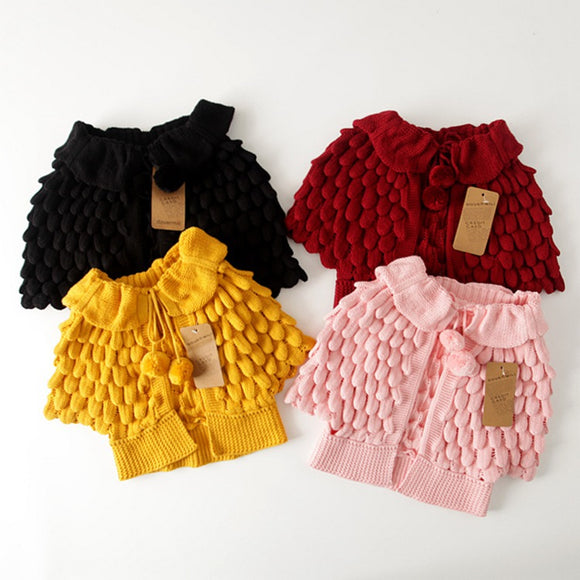 Girls Crochet Candy Cardigan Jackets with Bat-wing Sleeve - everprincess