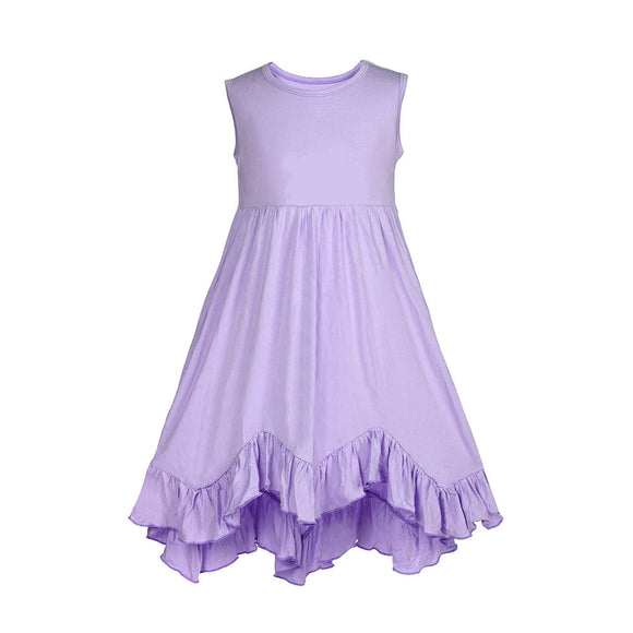 Girls Ruffles Sundress Candy Lavender Color Sleeveless Pleated Boho Dress - everprincess