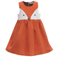 Sweet Kids Girls Fox Dress Corduroy Ruffles Cartoon Dress - everprincess