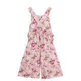 Cute Kids Girls Floral Overall Pants Summer Cotton Pants - everprincess
