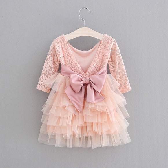 Princess Girls Lace Tulle Birthday Party Dress with Big Bow and V Back - everprincess