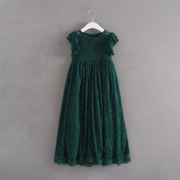 Princess Flower Girls Lace Party Dress Green Color