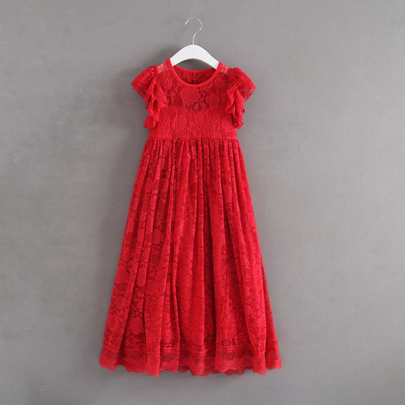 Princess Flower Girls Lace Party Dress Red Color Holiday Dress