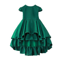 Girls Asymmetric Pleated Ruffles Party Dress Candy Gold Green Color - everprincess