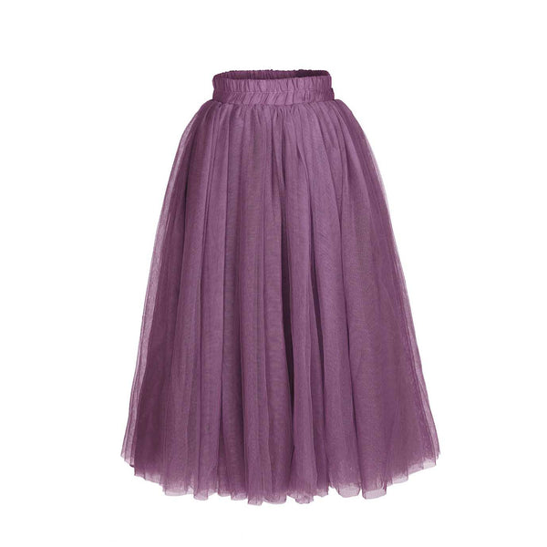 Flower Girls Straight Tulle Maxi Skirts Dusty Purple Color