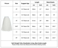 Flower Girls Straight Tulle Maxi Skirts White Color