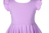Girls Ruffles Dress Candy Color Fly Sleeve Twirly Skater Party Dress Lavender Purple Color