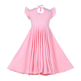 Girls Ruffles Dress Candy Color Fly Sleeve Twirly Skater Party Dress Pink Color