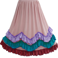 Girls 3 Layers Candy Ruffles Boho Maxi Dress with Lace Fly Sleeve