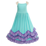 Girls 3 Layers Ruffles Boho Maxi Dress Apple Green Color with Lace Fly Sleeve