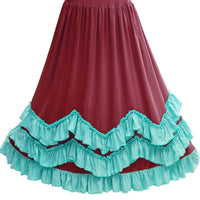 Girls 3 Layers Burgundy Ruffles Boho Maxi Dress with Lace Fly Sleeve