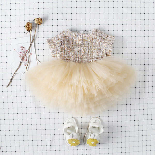 Toddler Baby Girls Champagne Tulle Classic Crochet Birthday Dress - everprincess