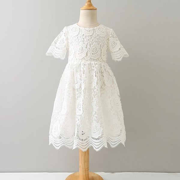 Princess Kids Girls White Floral Lace Party Dress - everprincess