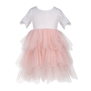 Flower Girls Tulle Lace Party Dress Rose Lace Backless - everprincess