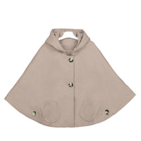 Kids Girls Hoodie Capes Poncho Car Seat Jacket Khaki Color - everprincess
