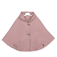 Kids Girls Hoodie Capes Poncho Car Seat Jacket Pink Color - everprincess